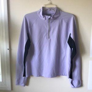 Purple workout long sleeve quarter zip shirt